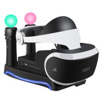 LIDIWEE  4-in-1 Charge & Display Stand for PS VR with Storage Headset Holder Black