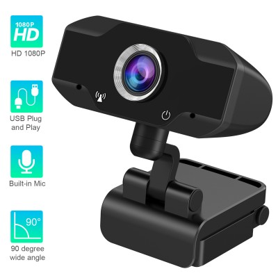 HD 1080P Webcam with Built-in Microphone Computer Camera for Video Call Black